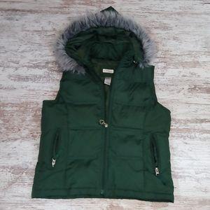 Maurices Dark Green Puffer Vest Faux Fur Hood
